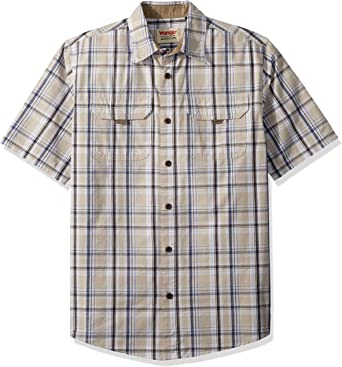 Doufine Mens with Plus Size Plaid Short Sleeves Causal Lapel Shirts