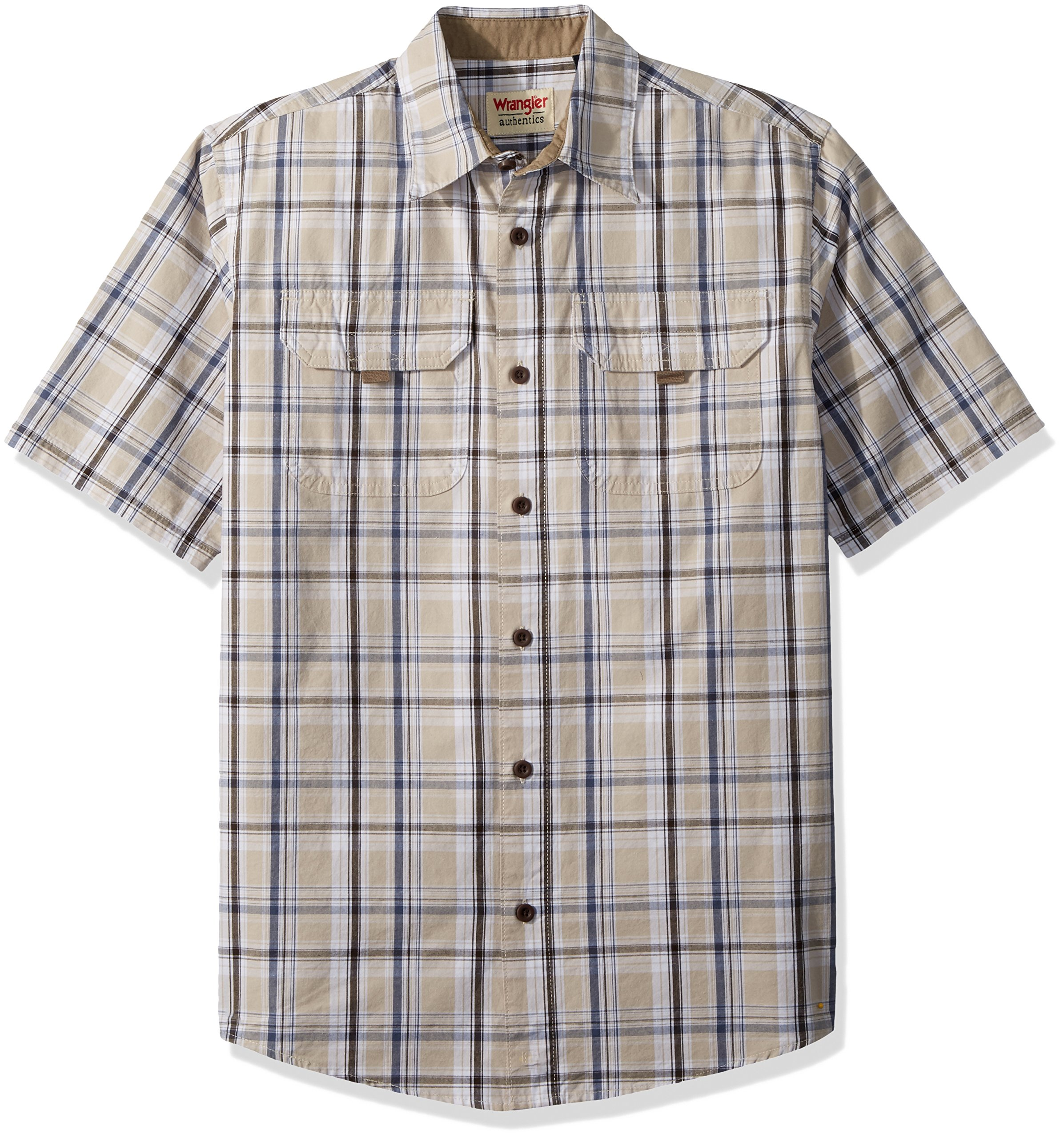 Wrangler Authentics Men's Authentics Short Sleeve Canvas Shirt, Dark Putty Plaid, L