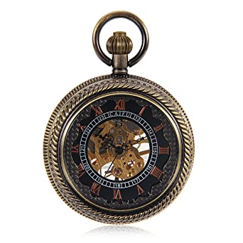 Bronze Tone Wind Up Mechanical Black Dial Roman Number See Though Case Pocket Watch reloj de