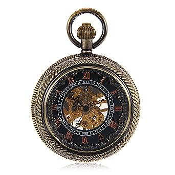 Bronze Tone Wind Up Mechanical Black Dial Roman Number See Though Case Pocket Watch reloj de