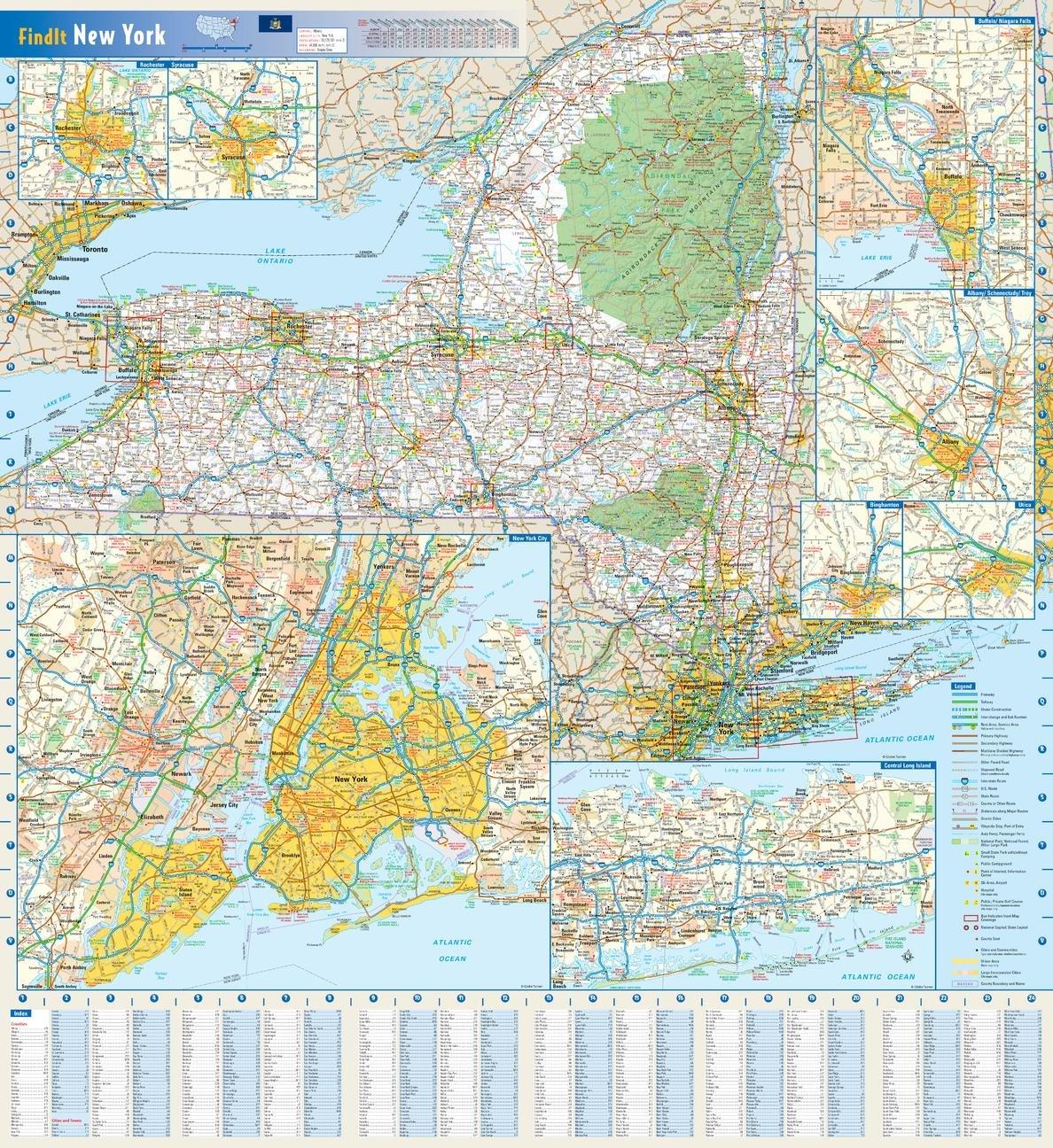 Amazon Com New York State Wall Map 25 X 27 Matte Plastic