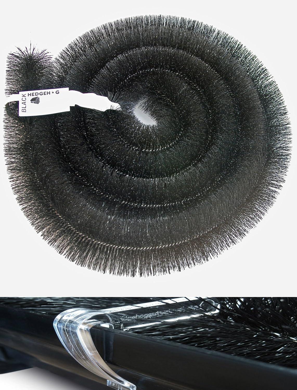 1 x 4m Length 100mm Hedgehog Gutter Brush Leaf Guard Black /& THREE Hedgehog Gutter Clips
