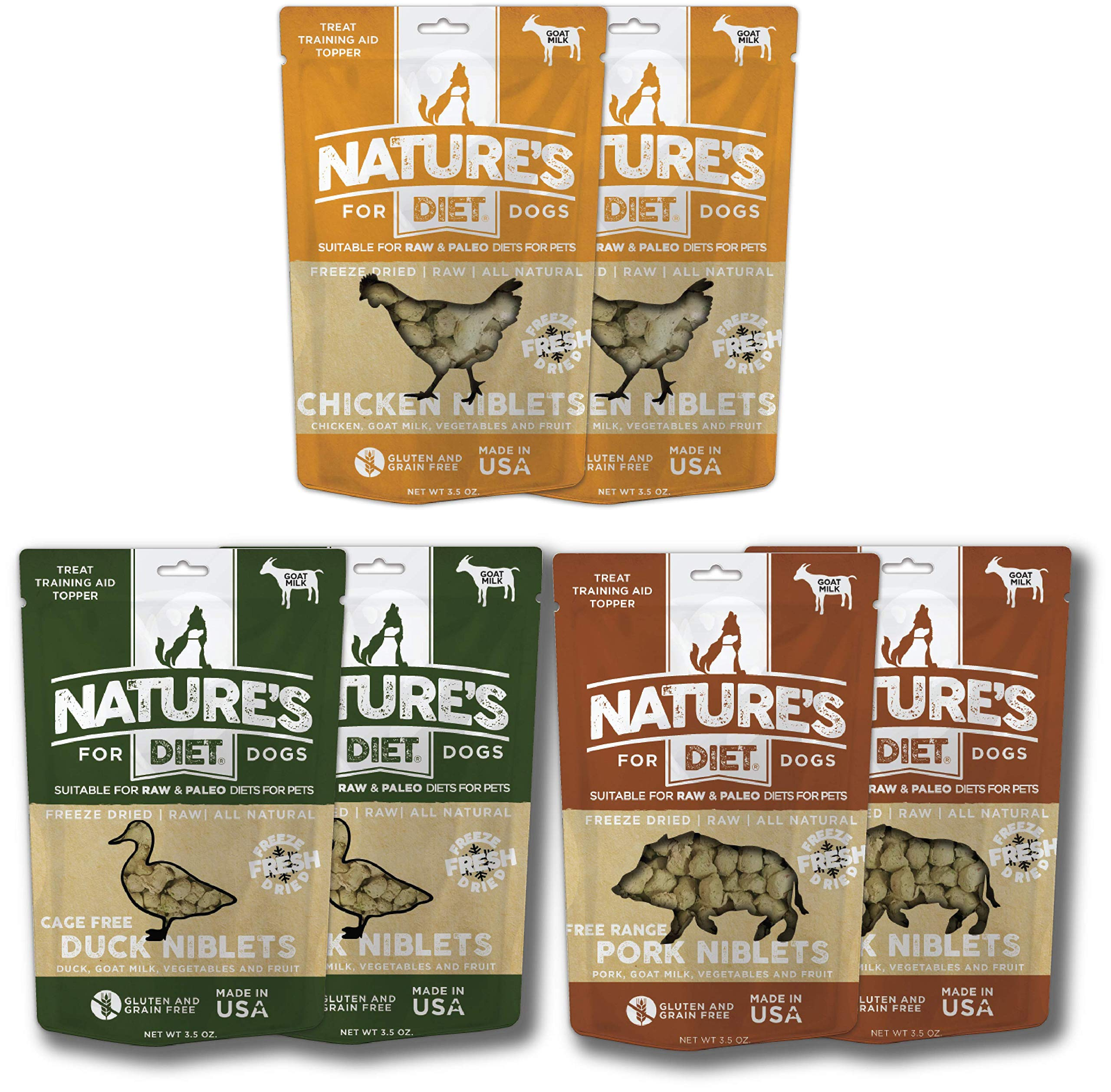 Nature's Diet Pet Raw Freeze Dried Niblets for Dogs: Treat, Training Aid and Kibble Topper/Mix in (Value Assortment Box of 6 Pouches) by Nature's Diet
