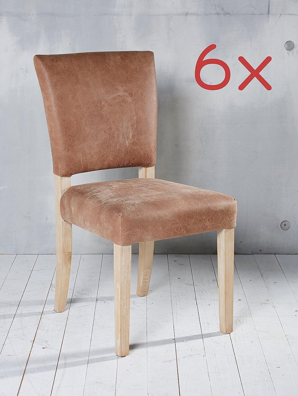 6 Esszimmerstühle Leder Hellbraun Stuhlgruppe Essgruppe Sitzgruppe Günstig  Kaufen