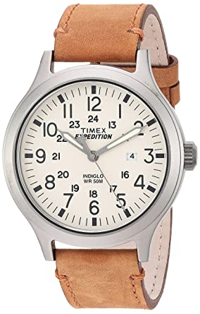 626b4778c145 Timex Men s TW4B06500 Expedition Scout 43 Tan Natural Leather Strap Watch