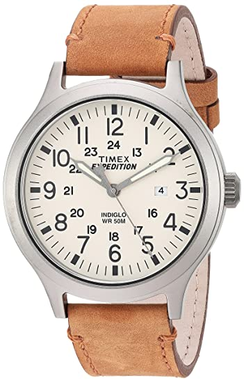 04d2cca03 Timex Men's TW4B06500 Expedition Scout 43 Tan/Natural Leather Strap Watch:  Timex: Amazon.ca: Watches