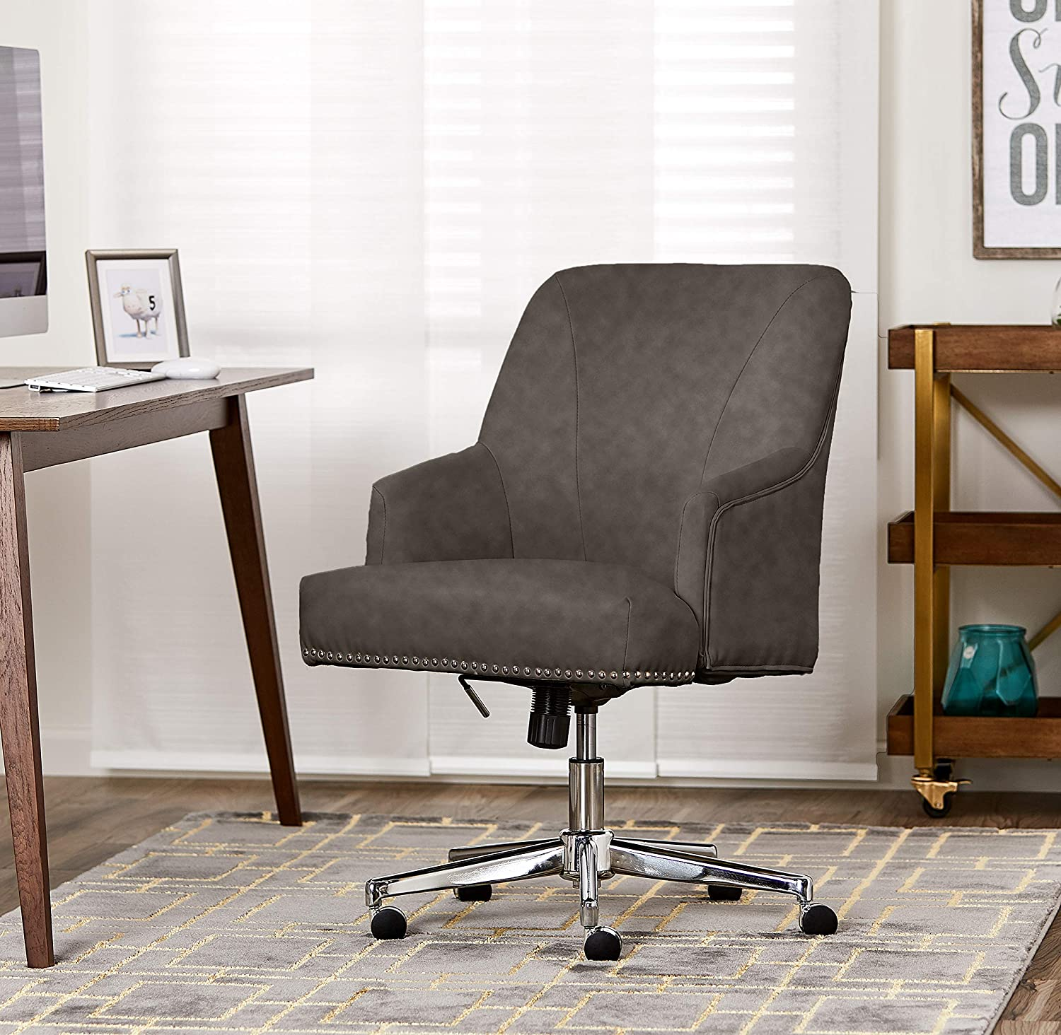 Serta Style Leighton Home Office Chair, Bonded Leather, Gray