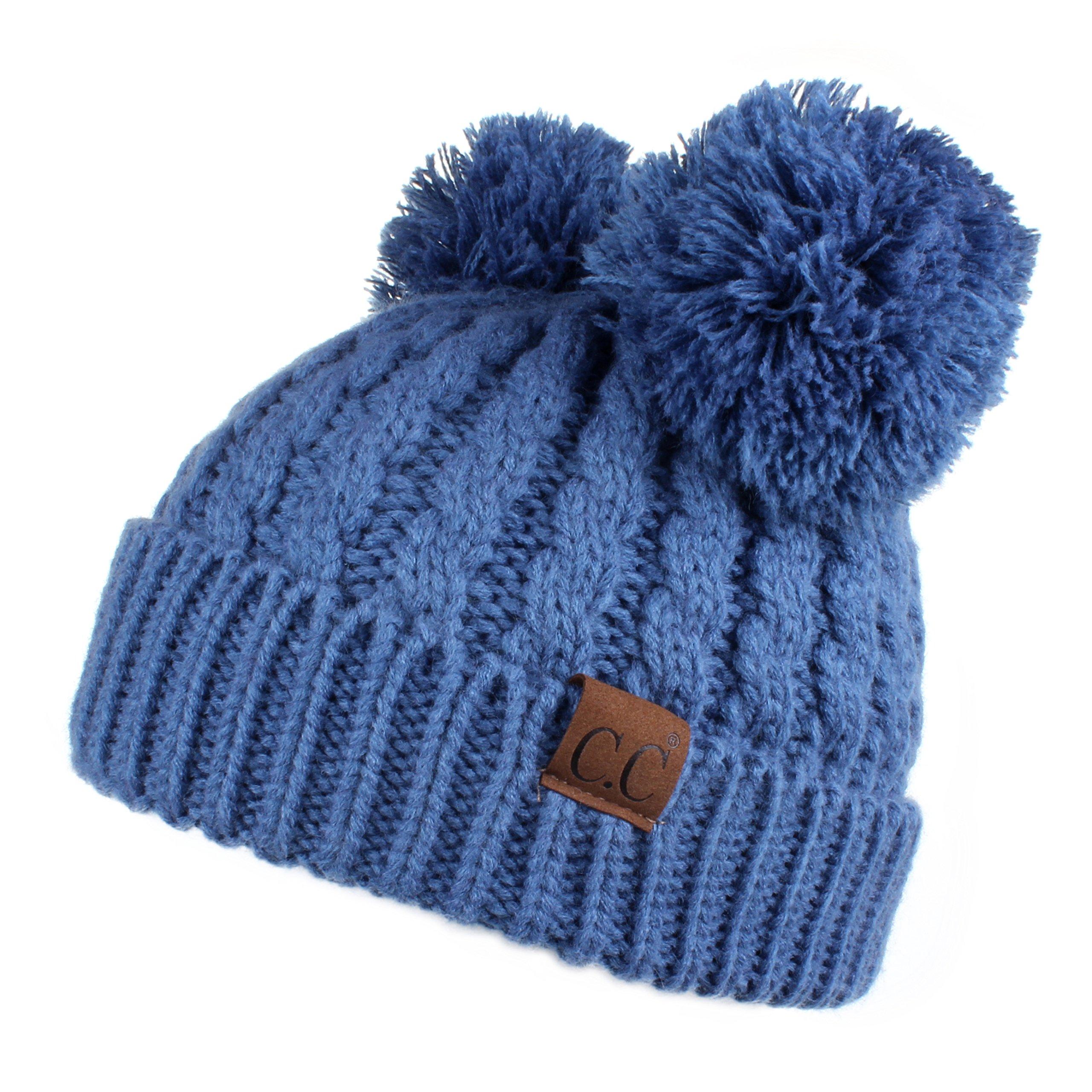 39129d92cc9bd Hatsandscarf CC Exclusives Cable Knit Double Pom Winter Beanie(HAT-60) (Dk.  Denim)