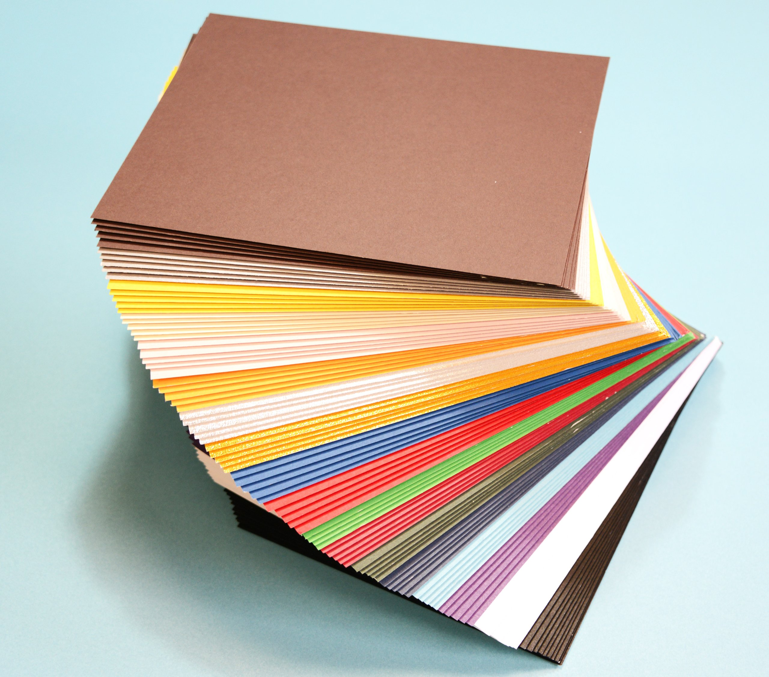 Pack of 100 MIXED COLORS 7.5''x9.5'' UNCUT Mat Board / Matboard Blanks for Framing / Crafting