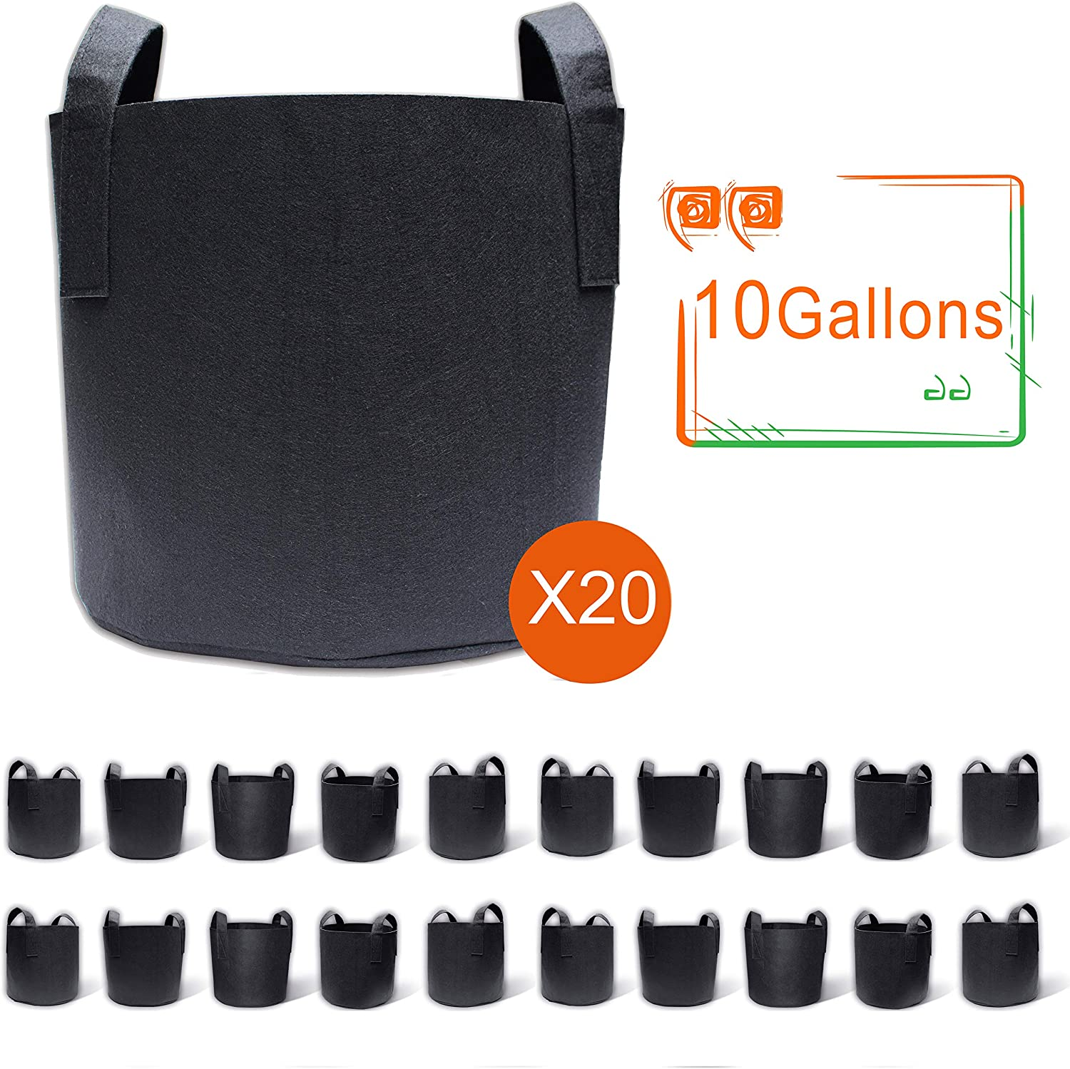 Gardzen 20-Pack 10 Gallon Grow Bags, Aeration Fabric Pots with Handles, Pot for Plants