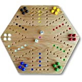 "Oak Hand-Painted 20"" Wooden Aggravation Game Board, Double-Sided"