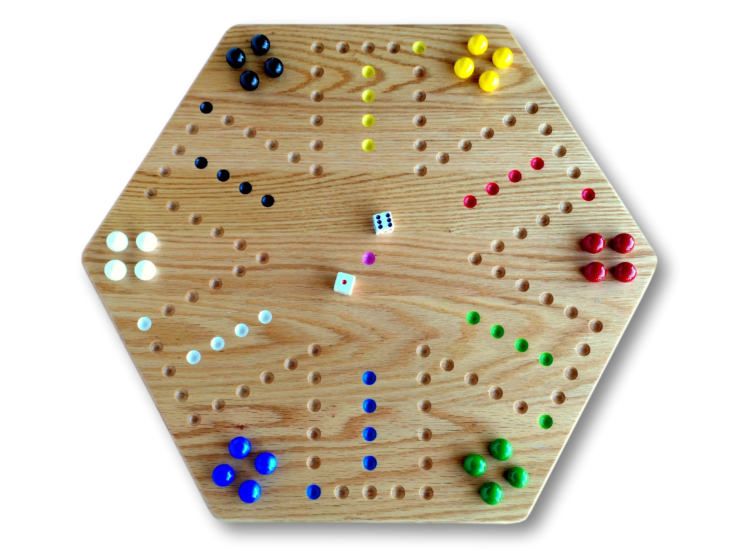 Oak Hand-Painted 20'' Wooden Aggravation Game Board, Double-Sided