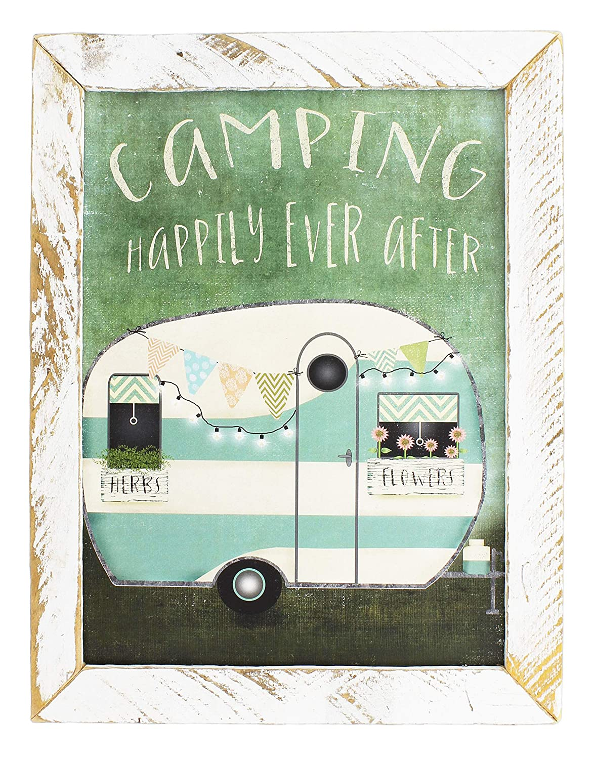 Camping Happily Ever After Jan Michaels Rustic Whitewash Wood Framed Art