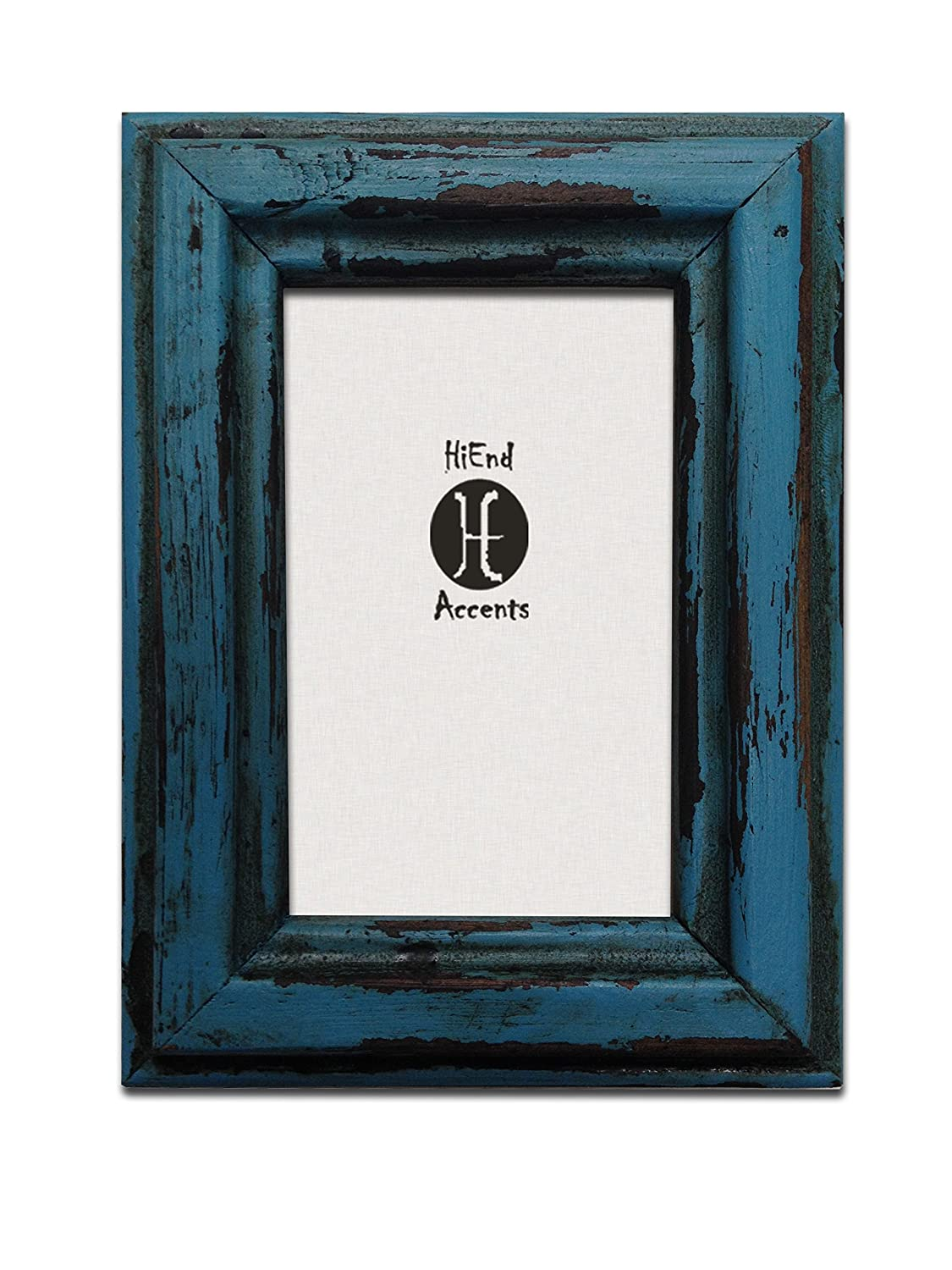 amazoncom hiend accents painted distressed wood frame 4 by 6 inch turquoise - Distressed Wood Picture Frames