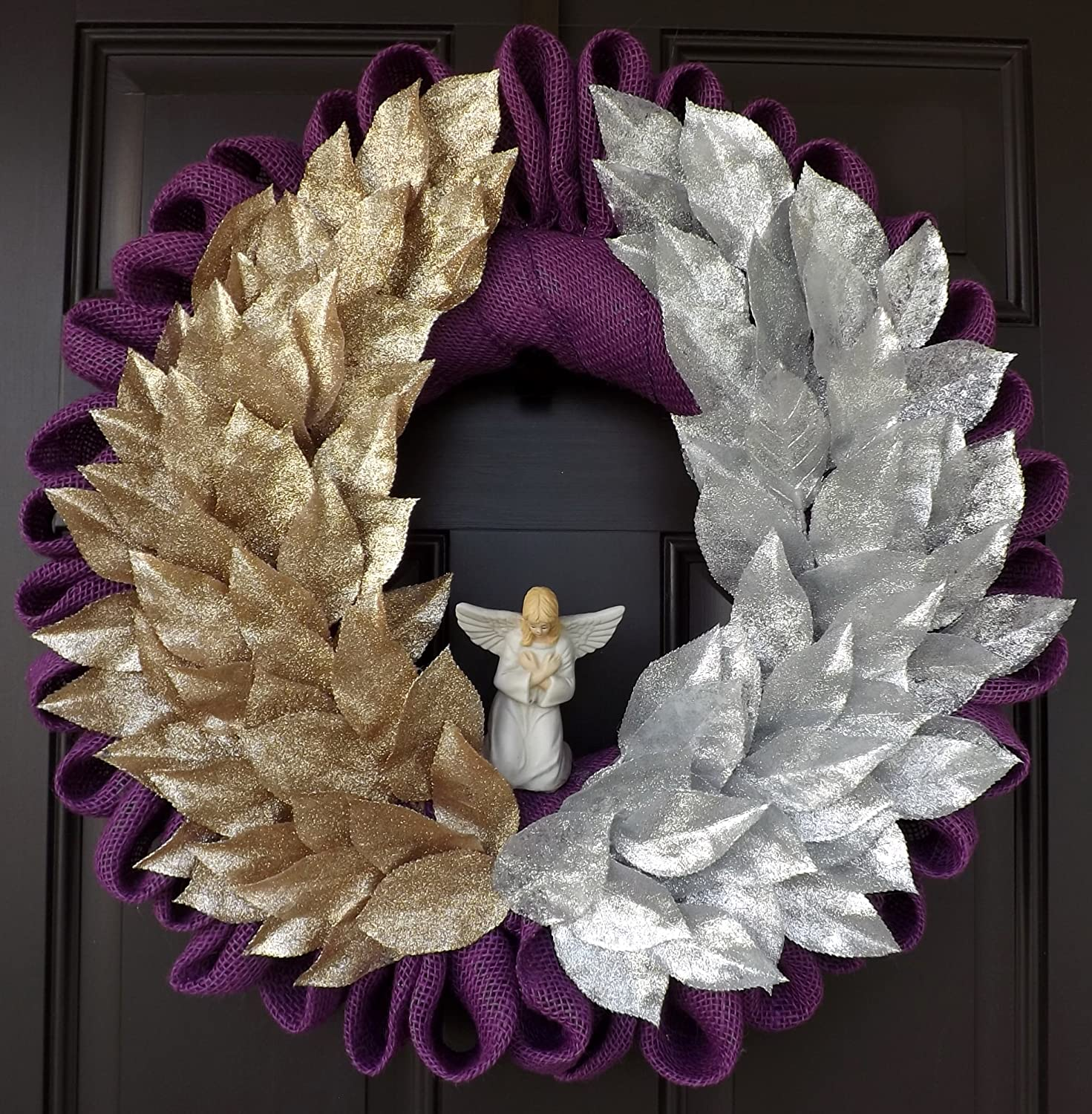 Gold and Silver Wings Christmas Wreath - Angel Wings