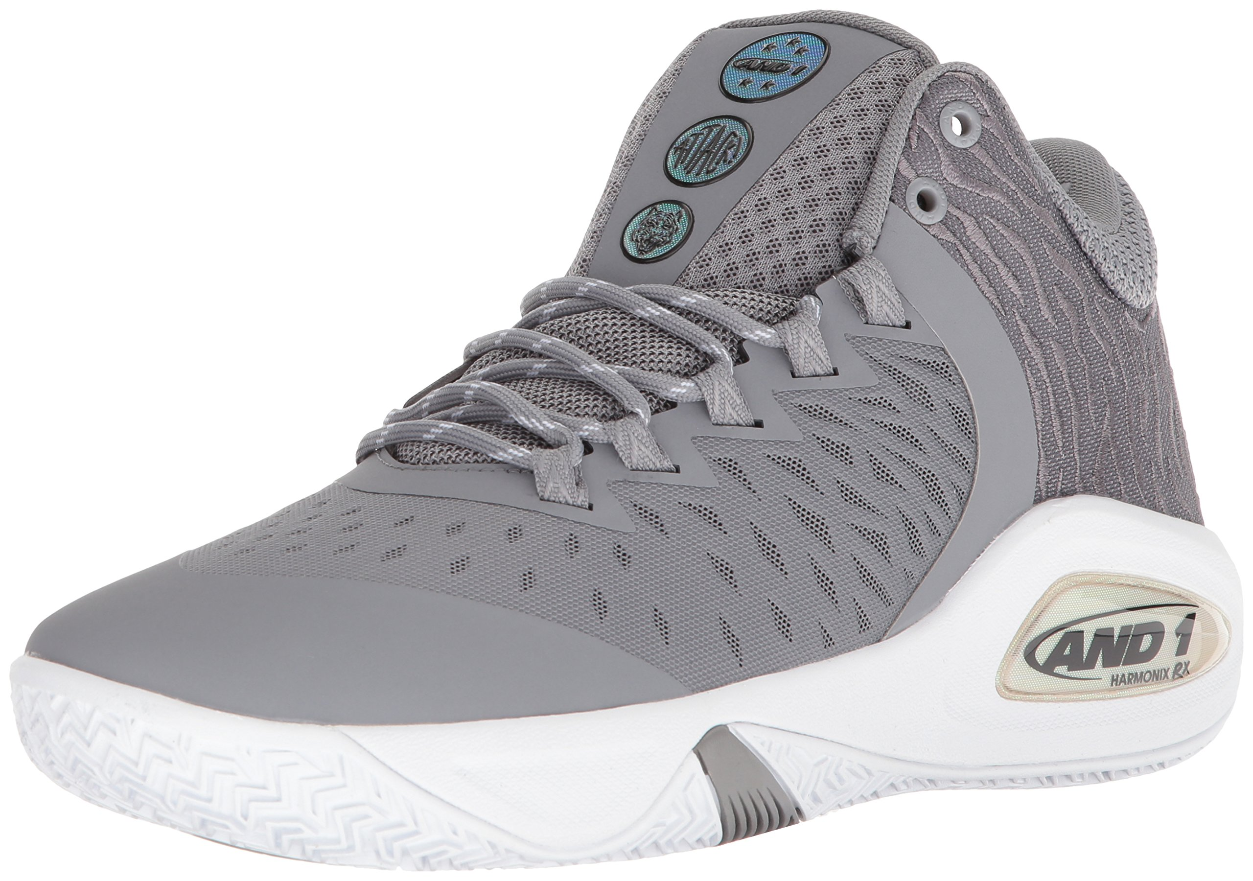 AND 1 Men's Attack Mid Basketball Shoe, Alloy/Super