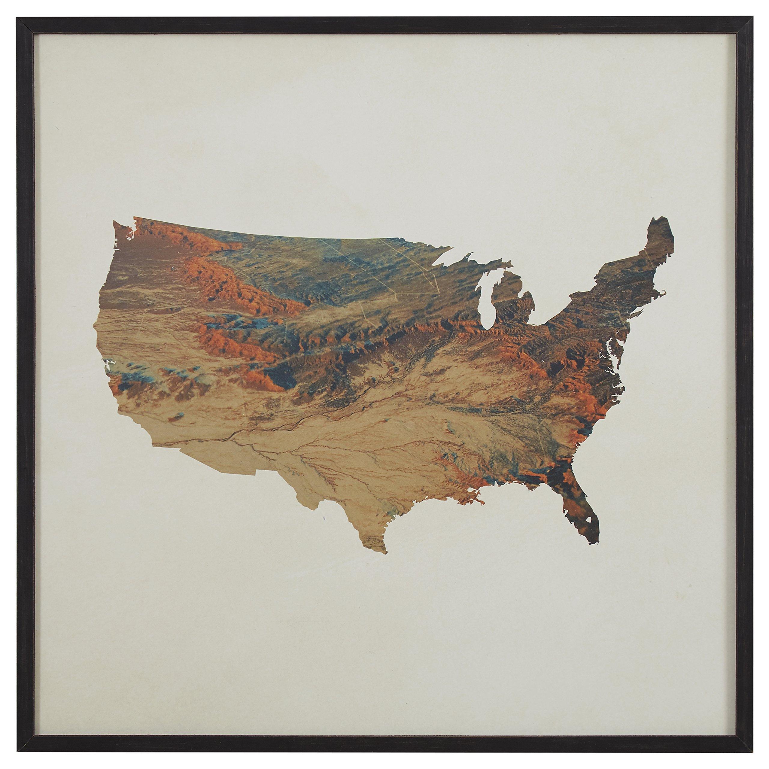 Modern Topographic Print in Black Wood Frame, 30'' x 30''