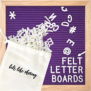 Changeable Purple Felt Letter Board Letter Pouch /& Cutter. Numbers /& Symbols Wall Mount Plastic Stand 12 x 12 with White Letters