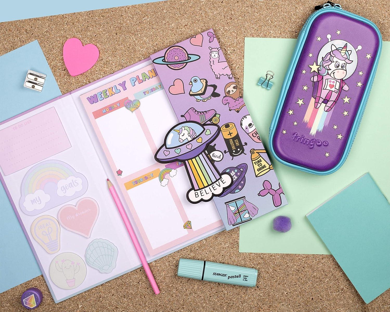 Fringo programma settimanale per la scuola con etichette adesive Sirene viola. Planner personale per bambine