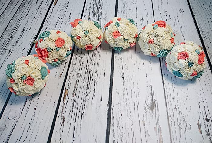 64dd8c9a9d44e Amazon.com: Bridesmaid Bouquets Set Medium Ivory Mint Coral Reef ...