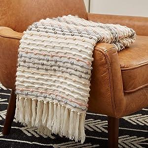 "Rivet Bubble Textured Lightweight Decorative Fringe Throw Blanket, 48"" x 60"", Grey and Cream"