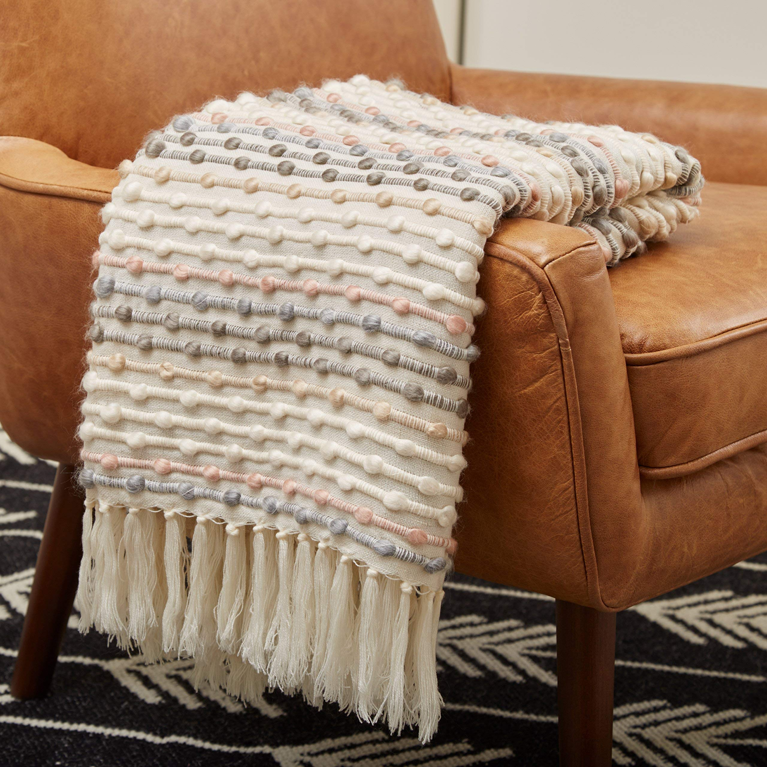 Rivet Bubble Textured Lightweight Decorative Fringe Throw Blanket, 48'' x 60'', Grey and Cream