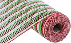 Wide Foil Stripe Deco Poly Mesh Ribbon - 10.5 inch x 30 feet (Red, White, Lime)