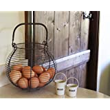 Large Wire Egg Basket French Country Vintage Farmhouse Style Grey Metal Storage Holder