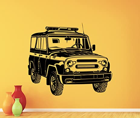 Russian Police Car Wall Decal Police Vehicle UAZ Vinyl Sticker Cool Wall  Art Police Station Design