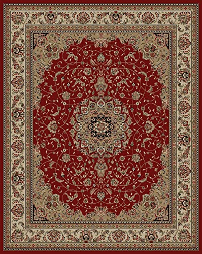 RugStylesOnline Conur Collection Medallion Design Traditional Oriental Persian Style Area Rug Rugs Dark Red – Burgundy, 5 3 Round