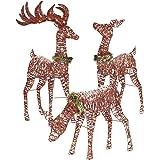 "Top Treasures Christmas Reindeer Family 3 Piece Set | Pre-lit Rattan Holiday Deer Includes 52"" Buck, 44"" Doe 28"" Fawn…"