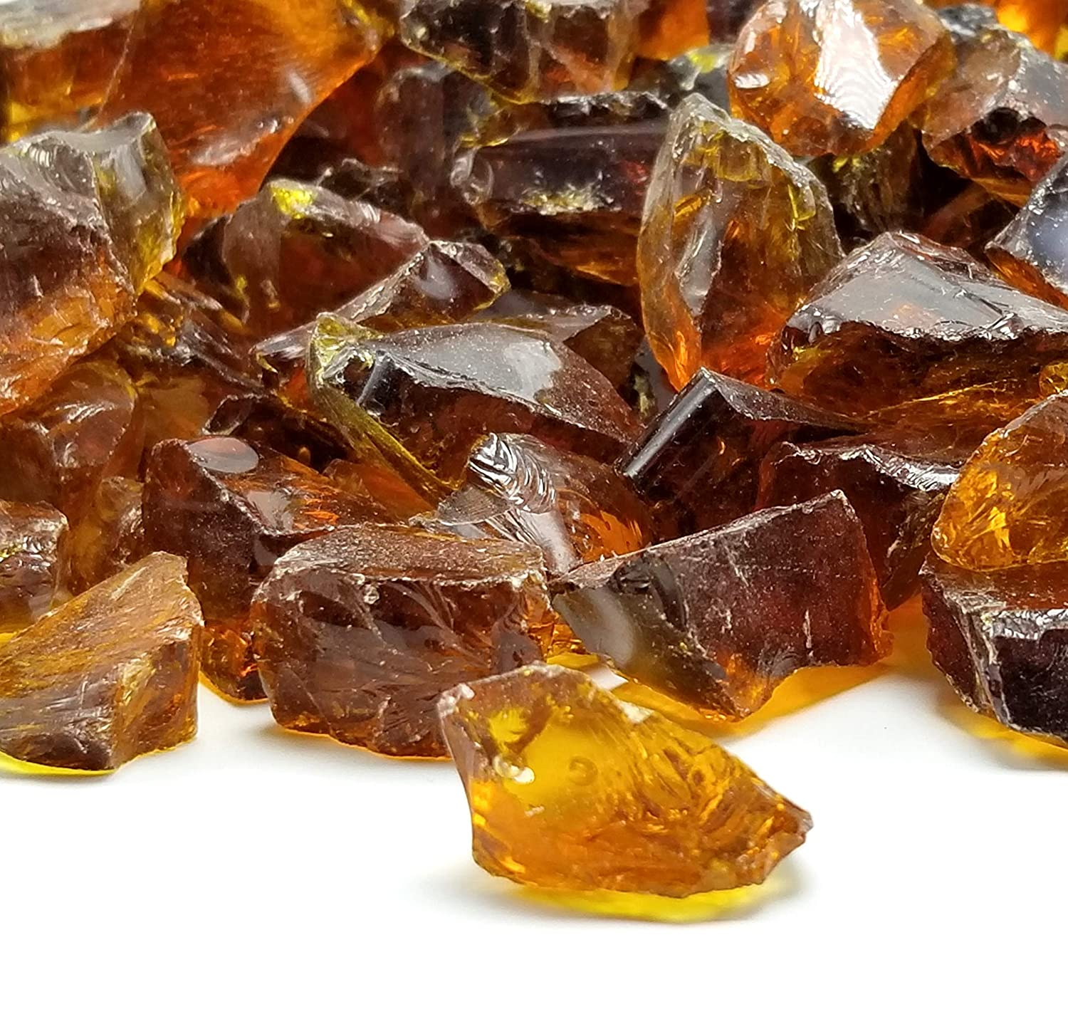 VIVID Heat Amber Ember Premium Outdoor Crushed Fire Glass Rock (5-Pound) 1/2, 3/4 & 1 inch Large Chunky Glass use in Fire Pit, Fire Place, Fire Table Etc. One Stop Outdoor