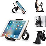AboveTEK Universal Phone / Tablet Bicycle Mount - Secure, Portable Smartphone and Tablet Holder for Gym Exercise Bike Treadmill Handlebar - Flexible Cradle, 360° Rotation for Adjustable Viewing Angle