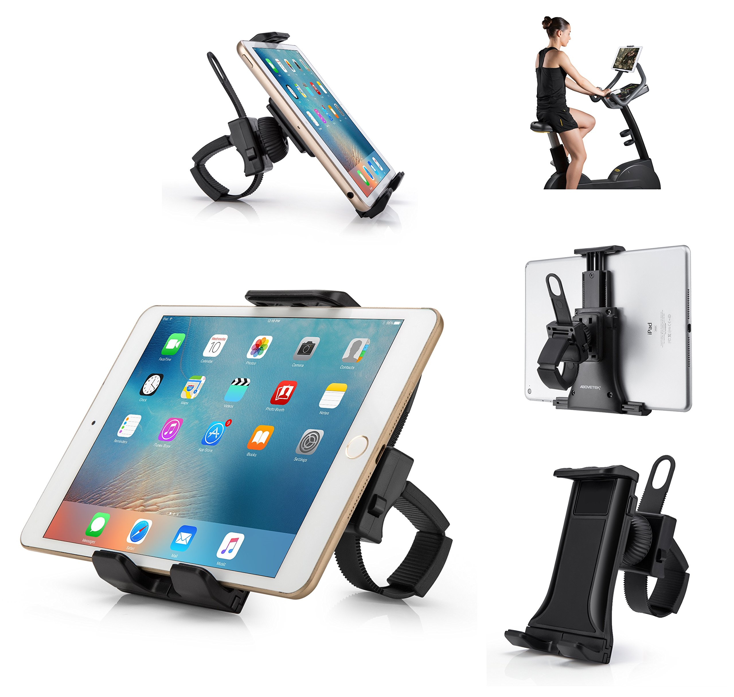AboveTEK All-In-One Cycling Bike iPad/iPhone Mount, Portable Compact Tablet Holder for Indoor Gym Handlebar on Exercise Bikes & Treadmills, Adjustable 360° Swivel Stand For 3.5-12'' Tablets/Cell Phones by AboveTEK (Image #1)