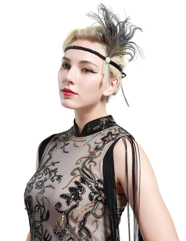 BABEYOND 1920s Stirnband Feder Flapper Stirnband mit Perlen Troddel 20er Jahre Haarband Gro/ße Gatsby Kost/üm Accessoires Damen Retro Stirnband