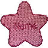 Parche en forma de estrella con nombre personalizado bordado, Pink (size 74x78mm), 1 Sew on(permanent solution)