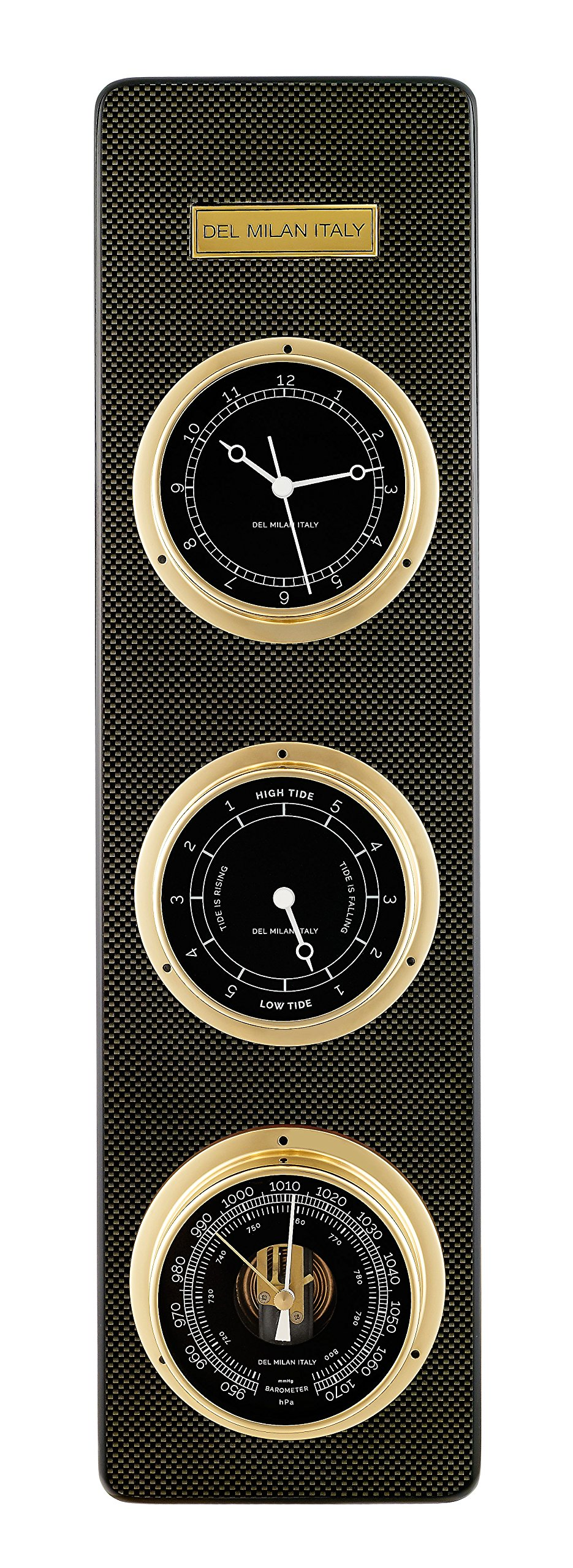 Del Milan 3 in 1 Fishermans Station, Clock, Tide Clock, Barometer, Carbon Fibre Finish