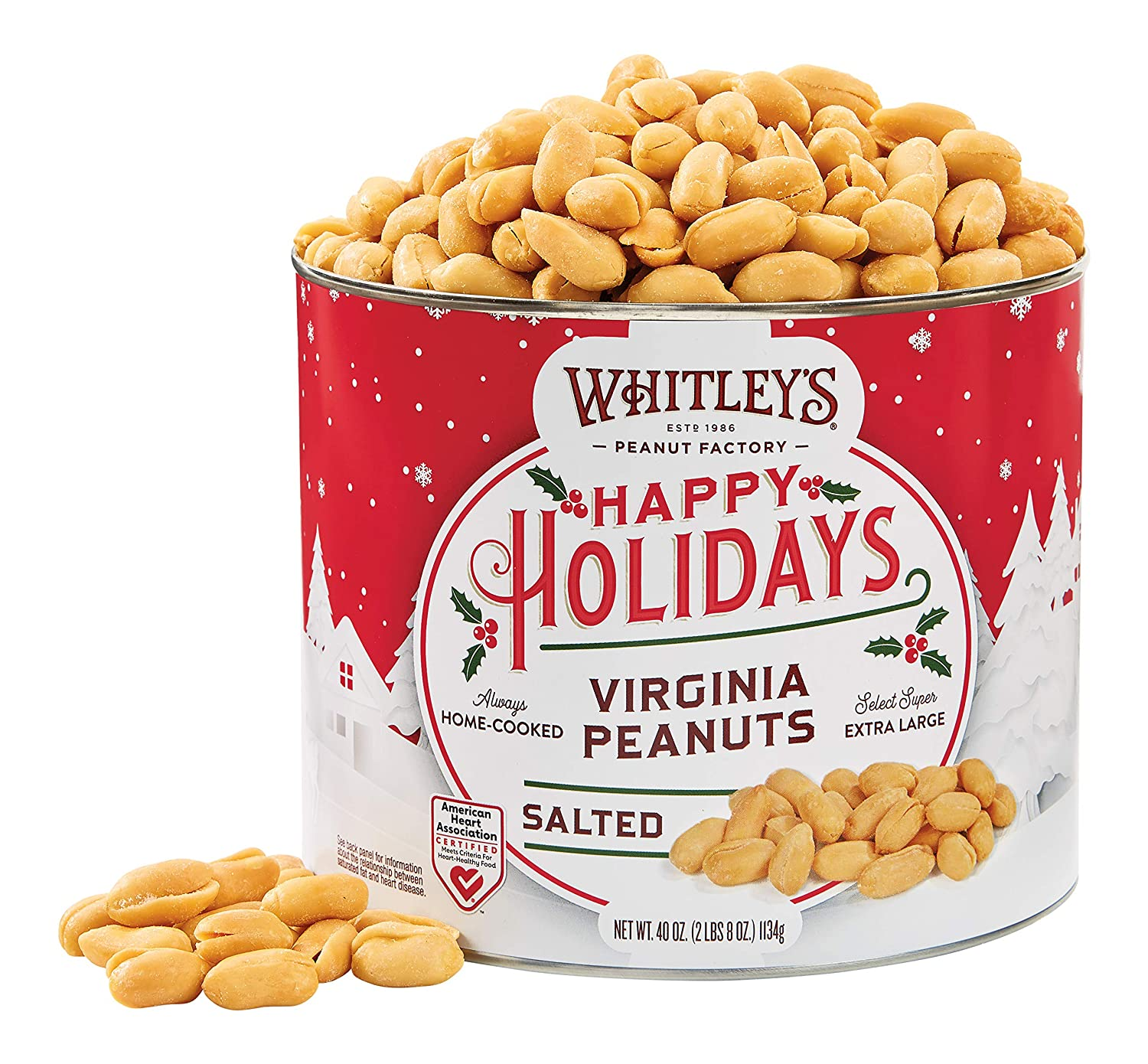 Whitley's Happy Holidays Label Home Cooked Salted Virginia Peanuts 40 OunceTin