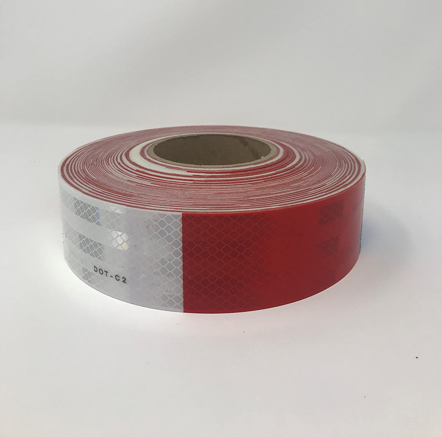 """Safe Way Traction 2"""" x 150' Roll 3M 983 Series Diamond Grade Conspicuity Trailer DOT-C2 Reflective Safety Tape Red & White 6""""/ 6"""" Pattern"""