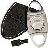 Cigar Cutter Guillotine Set - Premium Stainless Steel Sharp Double Blade in Elegant Gift Box with Brush and Black Leather Case
