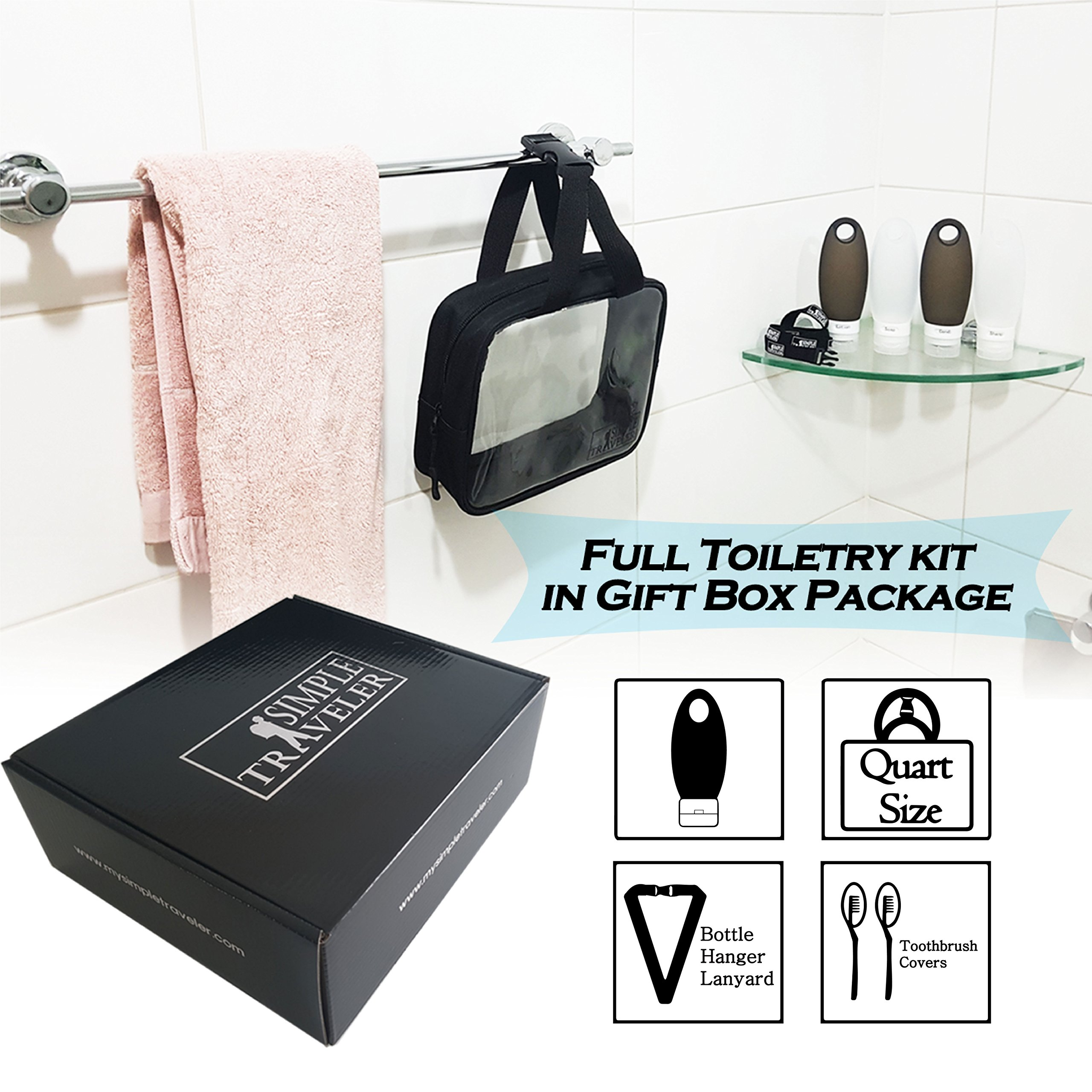 TSA approved Toiletry Bag Squeezable Silicone Travel Bottles Set | Clear Leak Proof Refillable Containers for Liquids (BPA Free, 3.3 OZ) | Toothbrush covers with Hanging Strap | Quart Sized Air Carry- by Simpletraveler (Image #9)