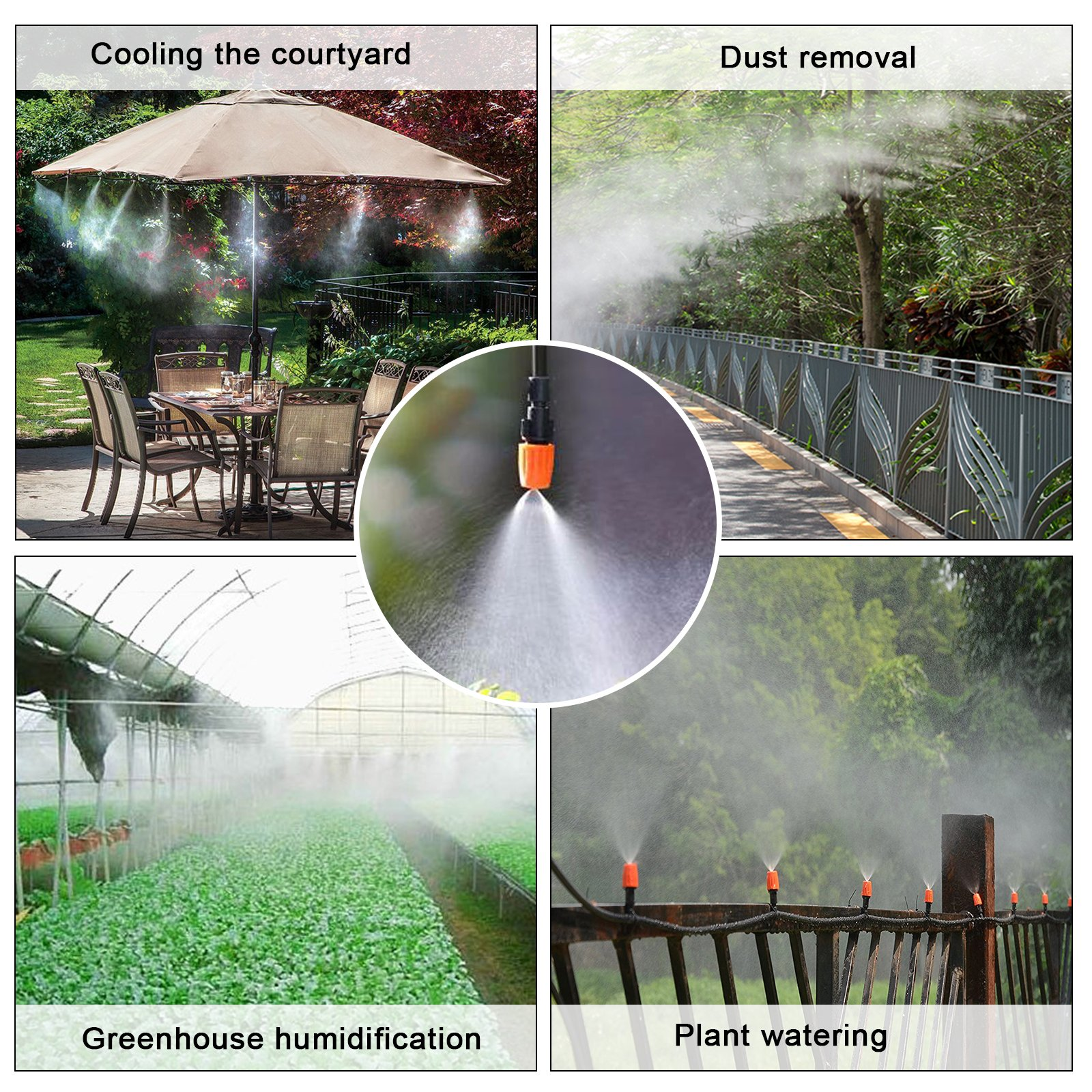 """MIXC 1/4-inch Drip Irrigation Kits Accessories Misting Cooling System with 50ft 1/4"""" Blank Distribution Tubing Hose, 20pcs Misters, 20pcs Barbed Fittings, 3pcs Quick Adapter, Model: GG0A"""