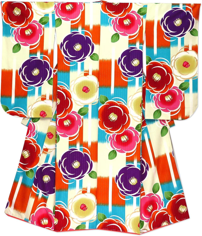 着物 子供 女の子 小学生 総柄 ジュニアサイズの振袖 合繊 単品「生成り 椿に市松風」MBJ510