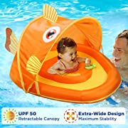 SwimSchool Gold-E-Fish Fabric Baby Boat, Retractable Canopy, UPF 50, Extra-Wide Inflatable Pool Float, 6 to 24 Months, Orange