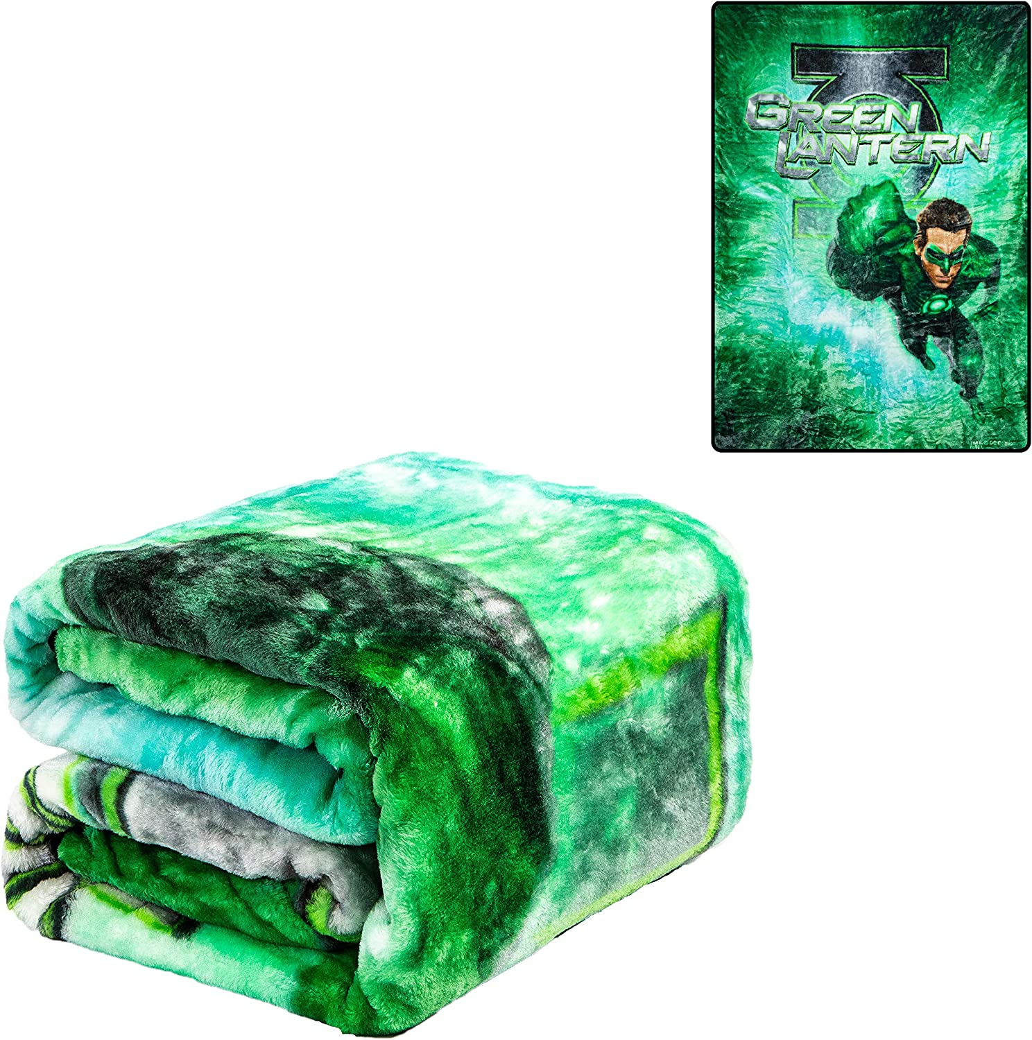 """JPI Plush Throw Blanket - Green Lantern - Twin Bed 60""""x 80"""" - Faux Fur Blanket for Home Decor, Bedding Sets, Sofa Bed, Couch, Picnic Blanket, Camping Blanket"""