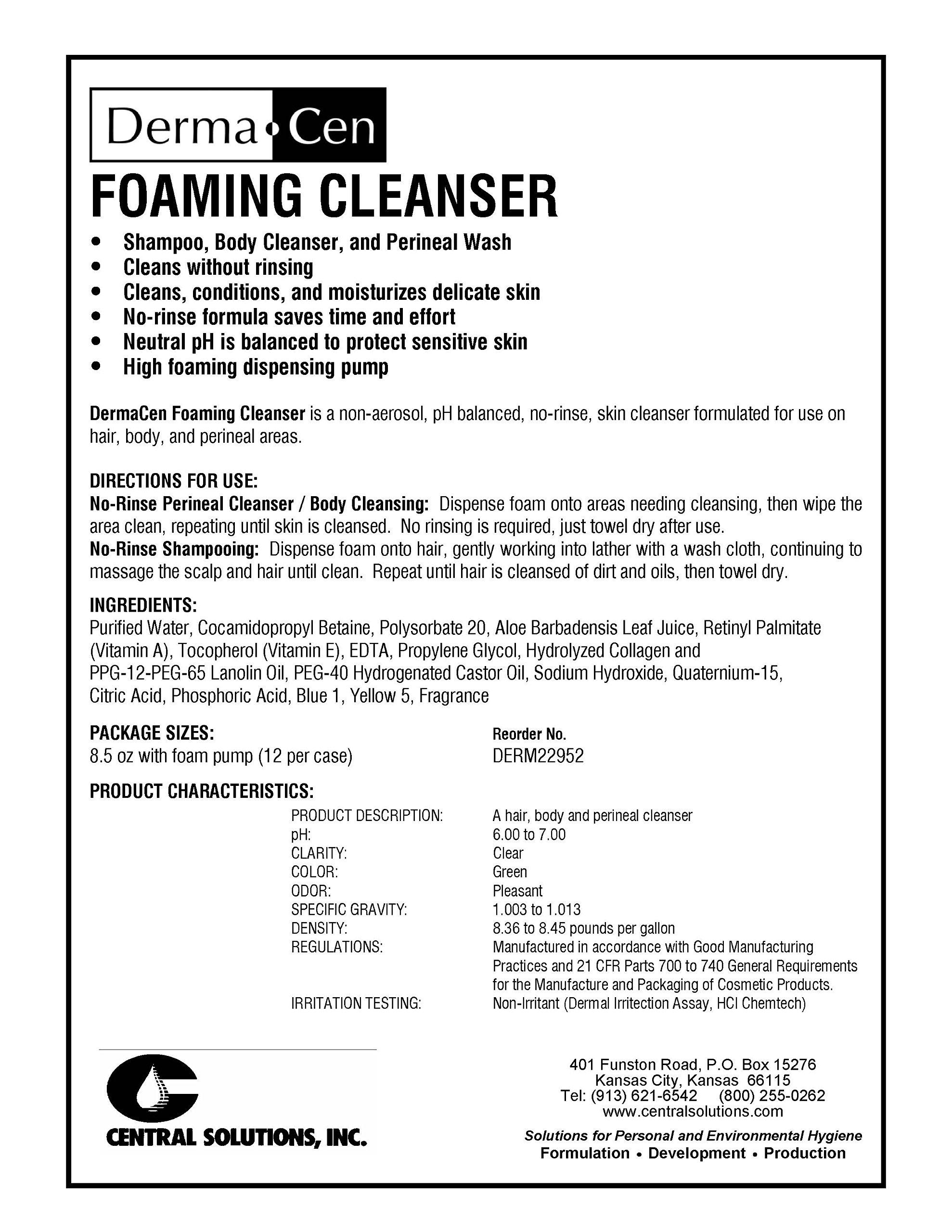 DermaCen No-Rinse Foaming Cleanser 8.5 oz Pump Bottles Model#DERM22952 - 1/Case of 12