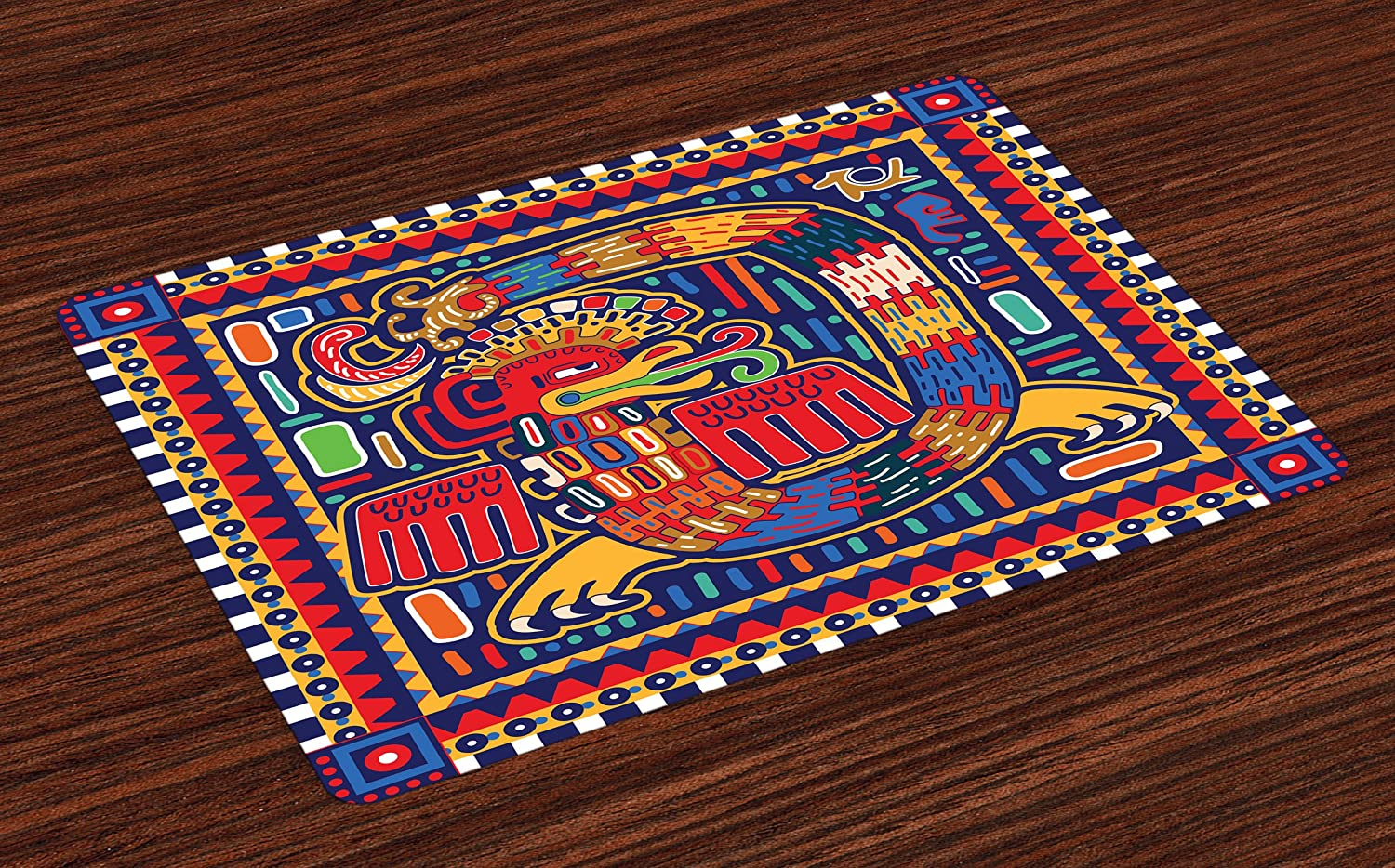 """Lunarable Mexican Place Mats Set of 4, Aztec Culture Pattern Ethnic Colorful Mythology Artwork Ancient Snake, Washable Fabric Placemats for Dining Room Kitchen Table Decor, Indigo Mustard Orange"""