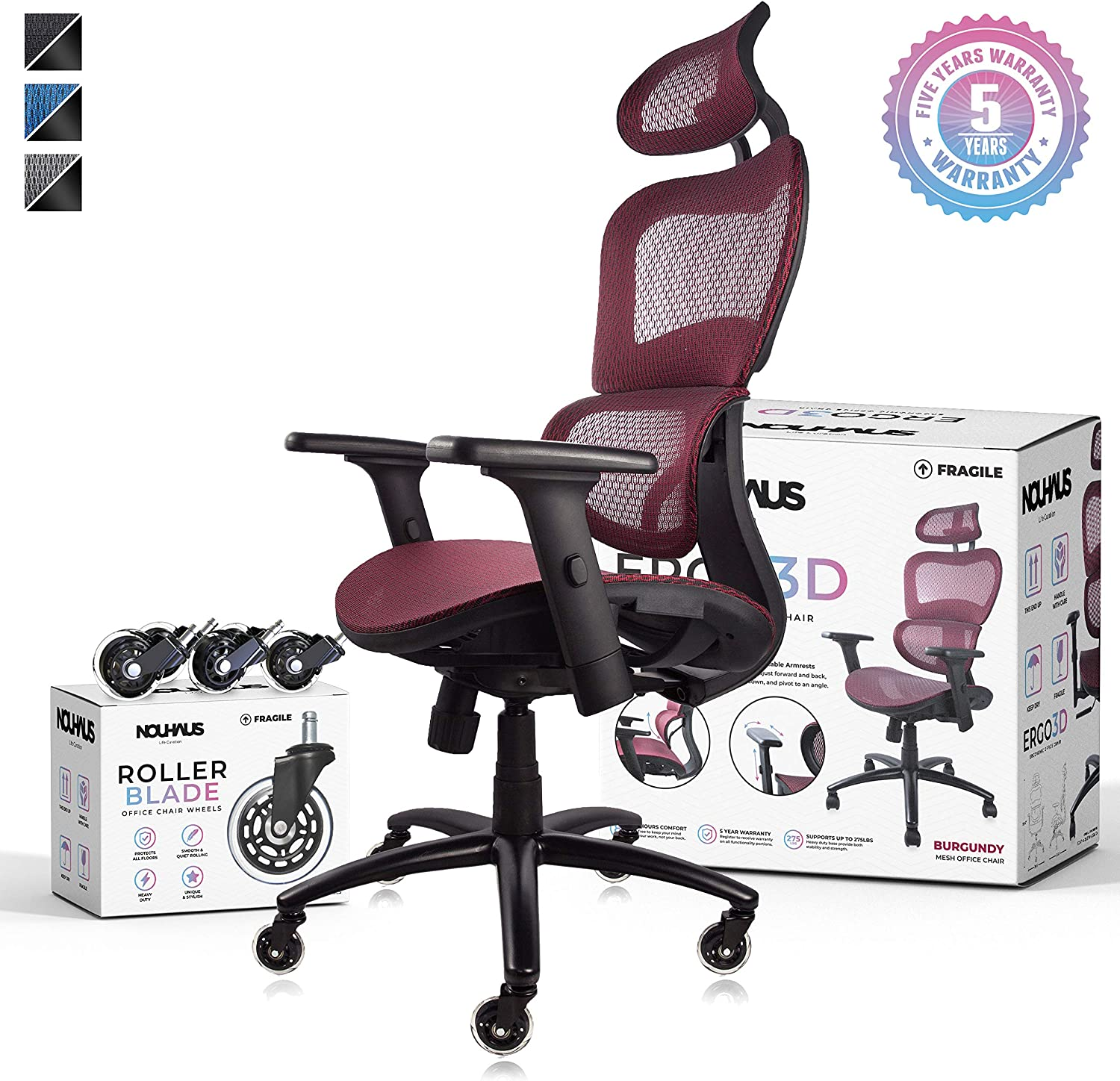 NOUHAUS Ergo3D Ergonomic Office Chair - Rolling Desk Chair with 4D Adjustable Armrest, 3D Lumbar Support and Extra Blade Wheels, Mesh Computer Chair, Gaming Chairs, Executive Swivel Chair (Burgundy)