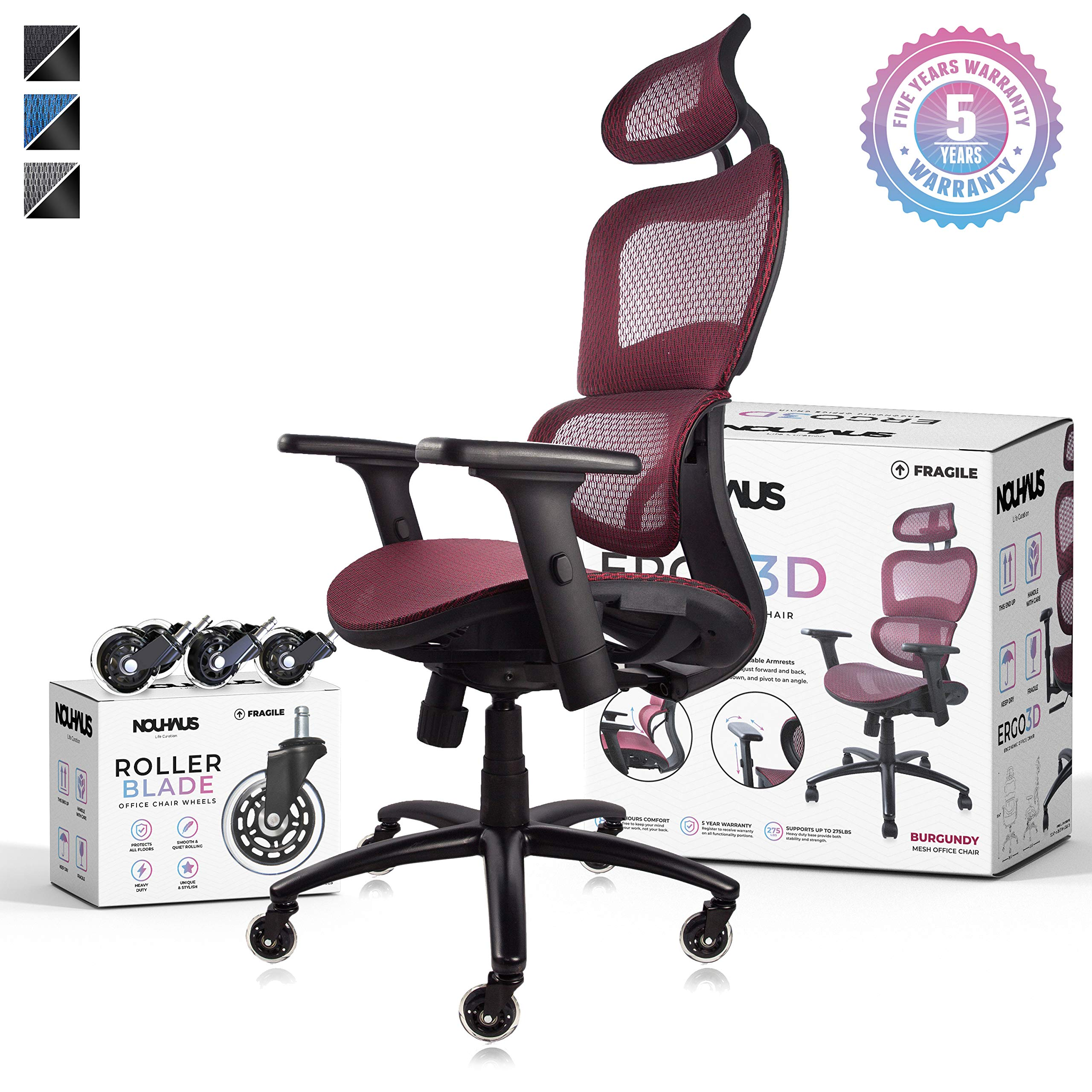 NOUHAUS Ergo3D Ergonomic Office Chair - Rolling Desk Chair with 4D Adjustable Armrest, 3D Lumbar Support and Extra Blade Wheels, Mesh Computer Chair, Gaming Chairs, Executive Swivel Chair (Burgundy) by Nouhaus
