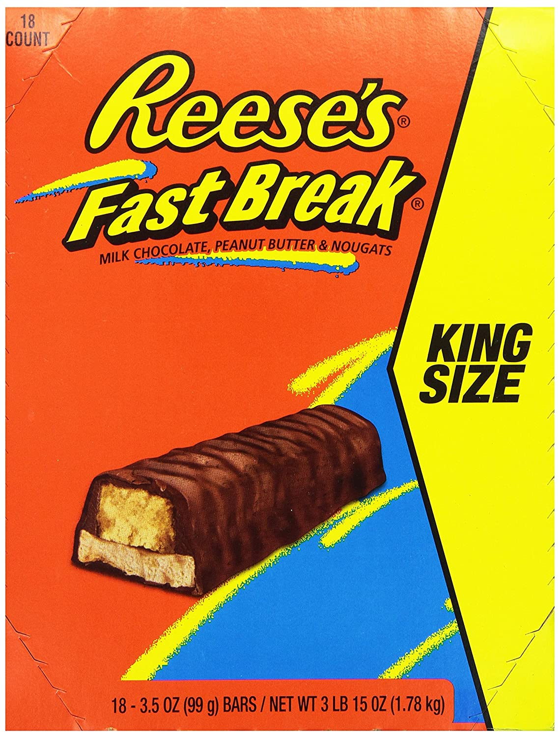 REESES Fast Break Chocolate Candy Bar (Pack of 18)